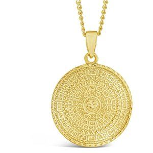 Sterling Forever Yellow Gold Medallion Necklace